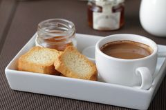 Breakfast scene. Breakfast with coffee and toast Stock Images