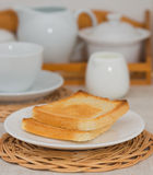 Breakfast scene. Breakfast: Toasts and cup of tea Royalty Free Stock Photography