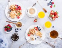 Breakfast with scotch pancakes royalty free stock image