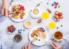 Breakfast with scotch pancakes Stock Image