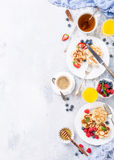 Breakfast with scotch pancakes Royalty Free Stock Photography
