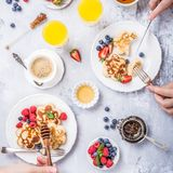 Breakfast with scotch pancakes Stock Images