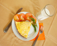 Breakfast with scrambled eggs Stock Photos