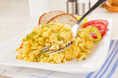 Breakfast. Scrambled eggs. Stock Images