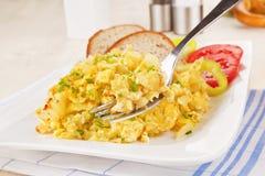 Breakfast. Scrambled eggs. stock images