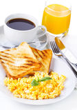 Breakfast with scrambled eggs Stock Image