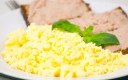 Breakfast with scrambled eggs Stock Photography