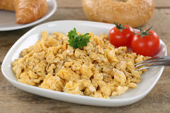 Breakfast with scrambled eggs Royalty Free Stock Photos