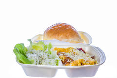 Breakfast with scrambled eggs cheese and salad Stock Image
