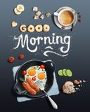Breakfast with scrambled eggs and coffee Royalty Free Stock Image