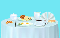 Breakfast with scrambled eggs coffee and croissant Stock Images