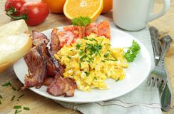 Breakfast with scrambled eggs Royalty Free Stock Images