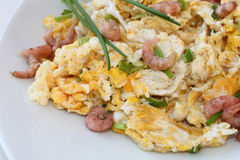 Breakfast - scrambled eggs with grabs and chives Stock Image