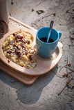 Breakfast with scrambled eggs, toasts, milk and coffee Stock Photography