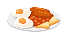 Breakfast with scrambled eggs and toasts, sausage isolated on white background vector. Royalty Free Stock Photos
