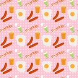 Breakfast seamless background. Kitchen themed. Breakfast seamless background. Vector pattern with cartoon food. Classic breakfast ideas pattern Stock Photography