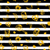Breakfast seamless pattern with eggs and dark stripes. Can be used for menu, banner, background and site header. Royalty Free Stock Photo