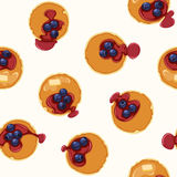 Breakfast Seamless Vector Pattern. Breakfast With Pancakes and Blueberries Seamless Vector Pattern. Editable pattern in swatches Royalty Free Stock Images