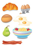 Breakfast Selection. Illustration of tasty breakfast objects Royalty Free Stock Photos