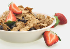 Breakfast sereal and strawberry. Fresh strawberry sereal flakes breakfast milk fitness Royalty Free Stock Photo