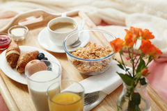 Breakfast served in bed Stock Photos