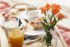 Breakfast served in bed Stock Images