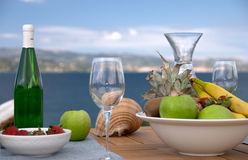 Breakfast served in Cephalonia Royalty Free Stock Images