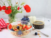 Breakfast served with coffee, cereals and fruits stock photography