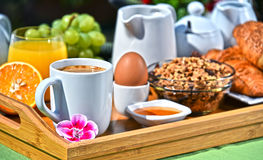 2Breakfast served with coffee, juice, croissants and fruits Stock Photos