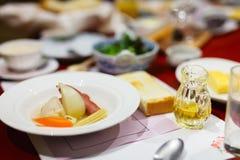 Breakfast served in restaurant Stock Photo