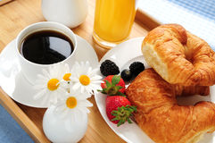 Breakfast served on a tray. On a sunny morning Royalty Free Stock Photo