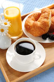 Breakfast served on a tray. On a sunny morning Royalty Free Stock Image