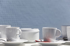 Breakfast service ready to be served with blue background outdoo Stock Images
