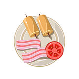 Breakfast Serving with Tomato and Bacon Vector Stock Photography