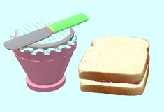 A breakfast serving of white bread and jam spread with a butter knife. A computer generated illustration image of a breakfast serving of white bread and jam royalty free illustration