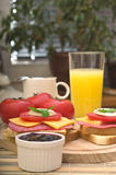 Breakfast Set. Healthy Breakfast Set In The Morning On Kitchen Table royalty free stock images