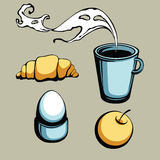 Breakfast set. Four stuffs for pleasant breakfast - vector illustration Stock Photography