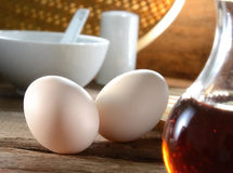 Breakfast Set. Delicious breakfast set eggs on wooden table Stock Photography