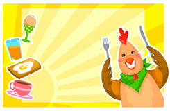 Breakfast set. Set of cartoon chicken and foods for breakfast Royalty Free Stock Photos