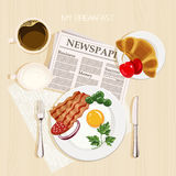 Breakfast set with bacon and eggs. Top view. Mealtime. Breakfast set with bacon and eggs, parsley, green beans, cherry, coffee, milk, french croissant and Stock Photography