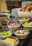 Breakfast. Set of bowls for custom omelette at hotel breakfast buffet Royalty Free Stock Photos