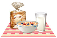 Breakfast set with bread and cereal Stock Images
