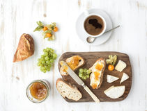 Breakfast set. Brie cheese and fig jam sandwiches Stock Photography