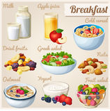 Breakfast 2. Set of cartoon vector food icons Royalty Free Stock Photo