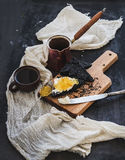 Breakfast set. Coffe, black toasts with cream Royalty Free Stock Photography