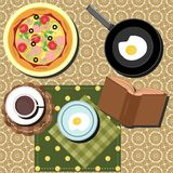 Breakfast set with coffe, eggs and pizza Royalty Free Stock Photo