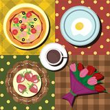 Breakfast set with coffe, eggs and pizza Royalty Free Stock Images