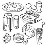 Breakfast Set Collection. A breakfast set in sketch style. It contains hi-res JPG, PDF and Illustrator 9 files Stock Photos