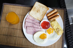 Breakfast set in the dish Royalty Free Stock Image