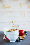 Breakfast set with granola Stock Photos